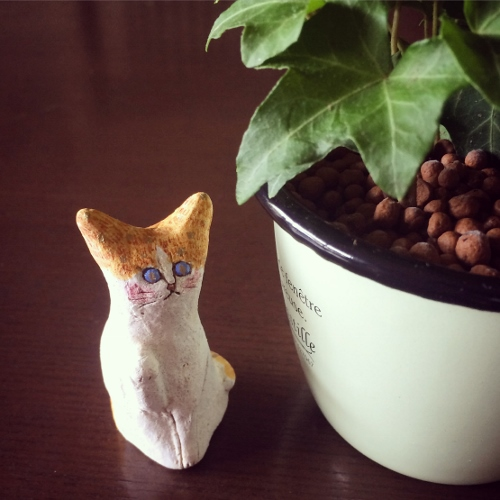 kikuko作 陶器粘土 にゃんこ